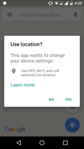 How to show enable location dialog like Google maps?